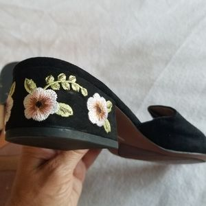 Franco Sarto heeled open toe embroidered shoes